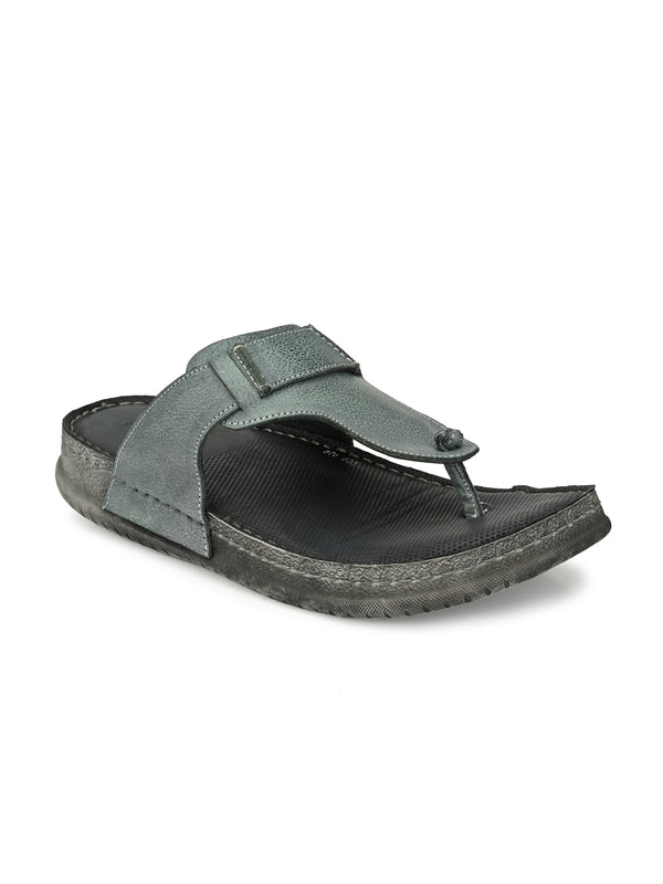 Hitz Grey Leather Thong-Strap Slippers for Men