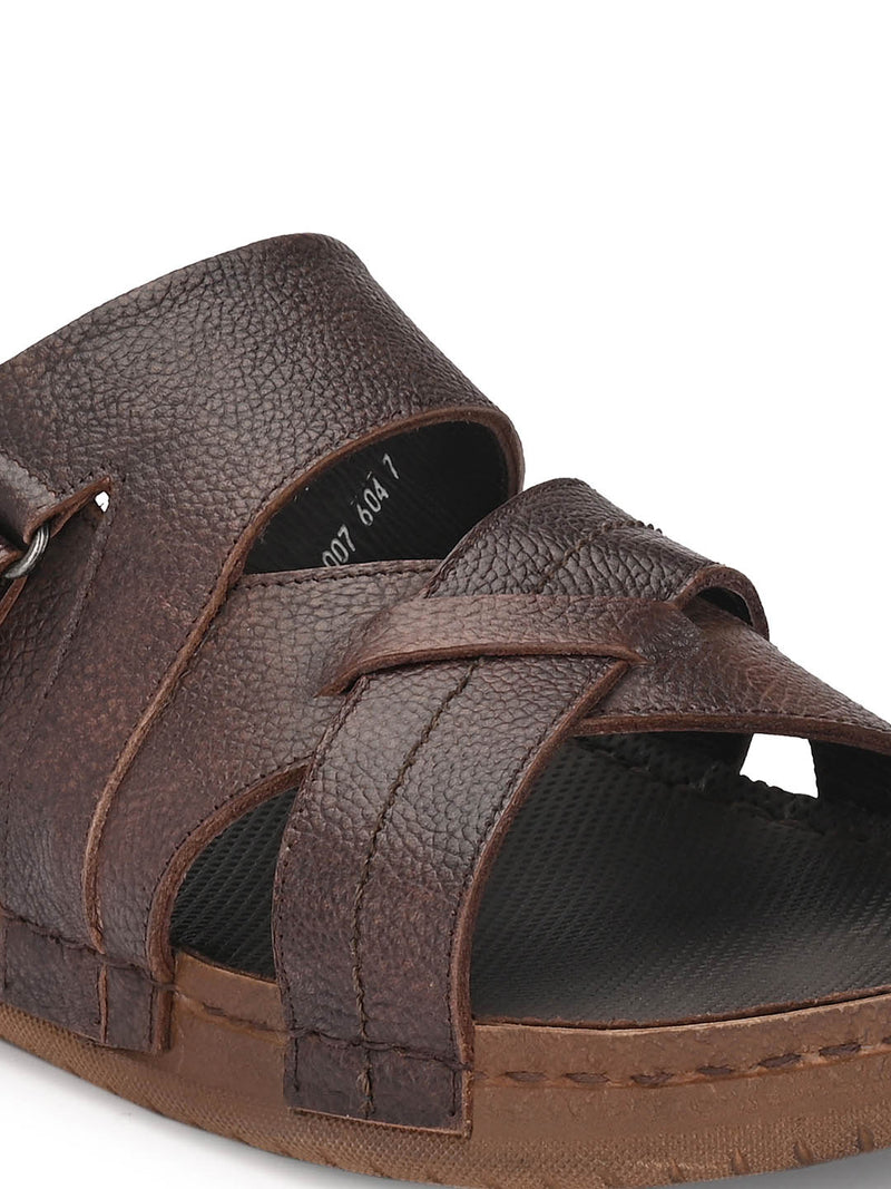 Harry - 604 Brown Leather Slippers