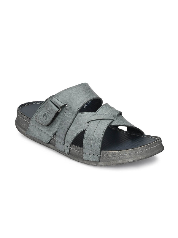 Harry - 604 Grey Leather Slippers