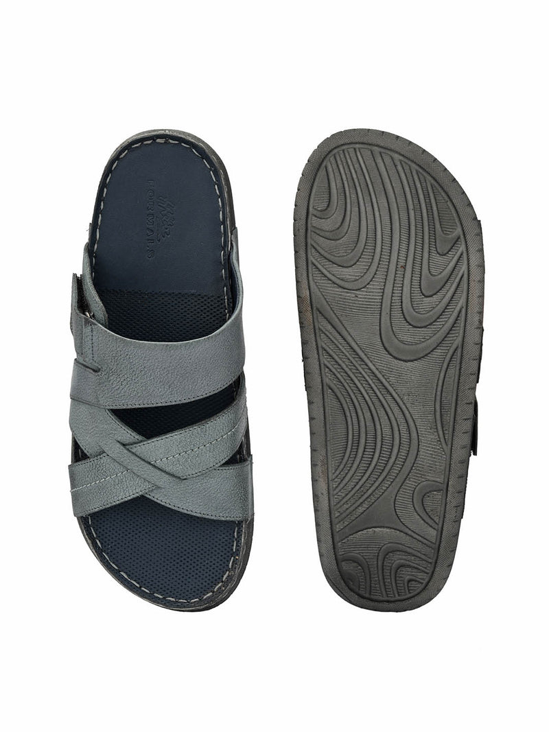 Men Grey Perforated Comfort Sandals