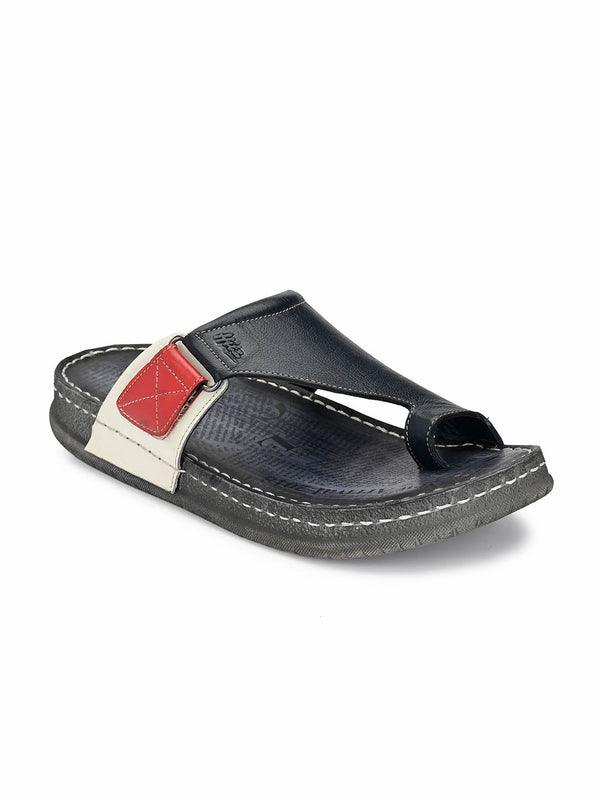 Men One Toe Comfort Blue Leather Sandals