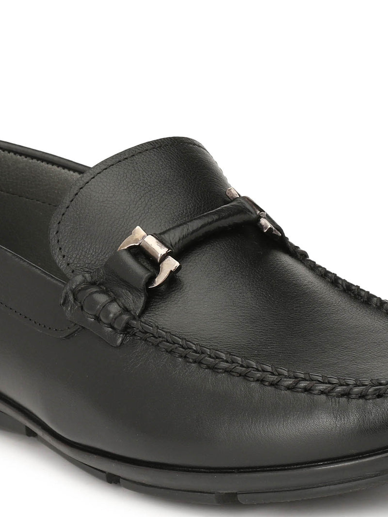 Men Black Leather Slip-on Loafer Shoes
