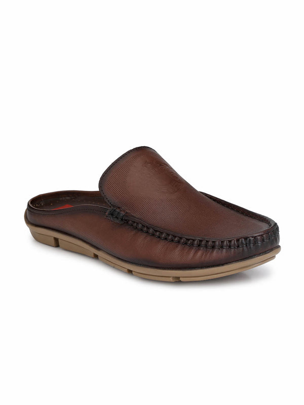 Men Brown Leather Half shoes