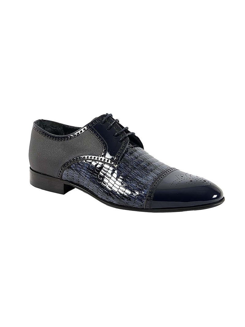 Franco Gabbani Patent Leather Blue Dress Shoe By HITZ