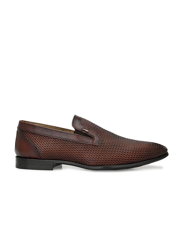Hitz Men Tan Slip-On Leather Party Shoes