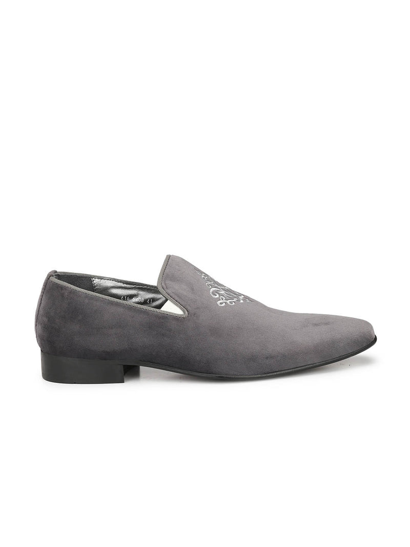 Men Grey Suede Embroidered Finish Shoes
