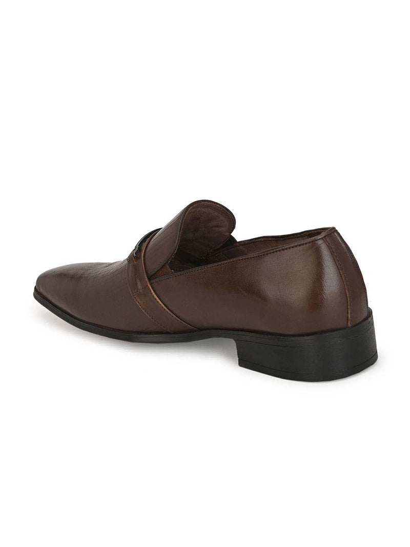 Hitz Men Brown Leather Semi-formal shoes