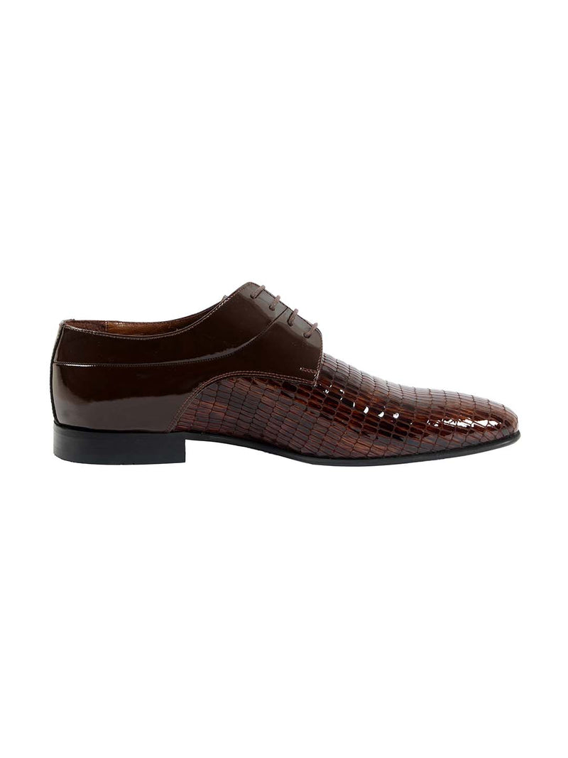 Franco Gabbani Patent Leather Brown Dress Shoe By HITZ