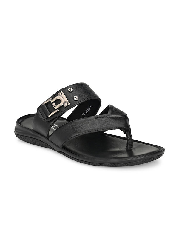 Hitz Black Slippers For Men