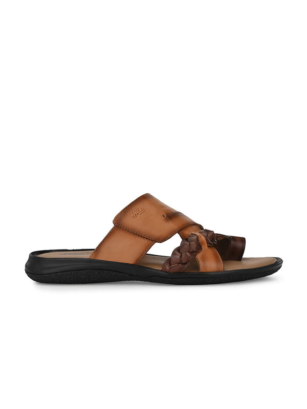 Hitz Adreno Tan+Brown Slippers For Men