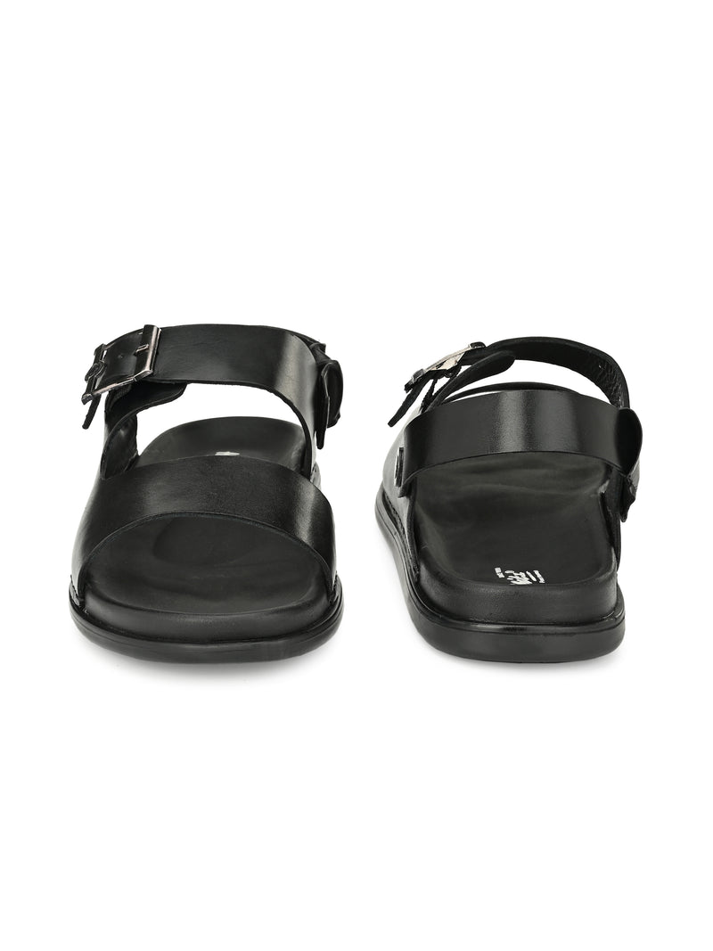 HITZ BLACK LEATHER SANDALS FOR MEN