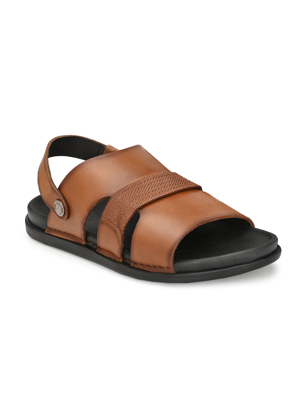 Hitz Men Tan Leather Casual Sandals