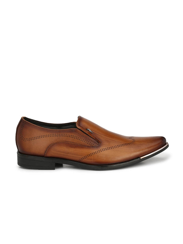 Men Tan Laser cut Formal Shoes