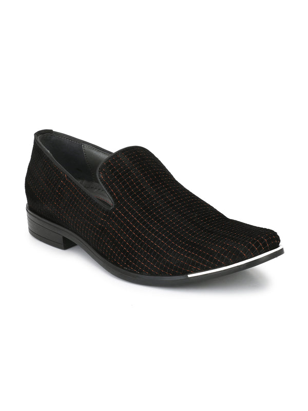 Hitz Black+Metalic Slip-on Luxure Shoes