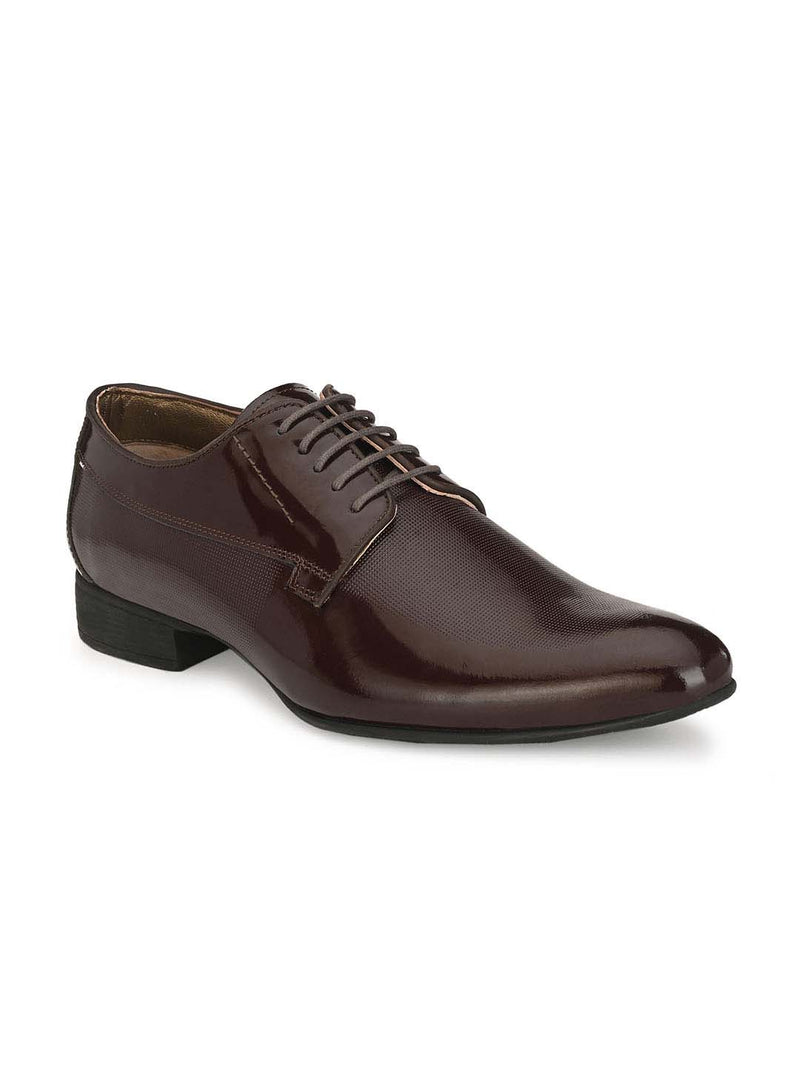 Shiny Mens Cherry Leather Derby Leather Shoes