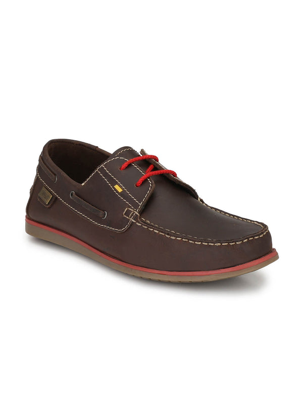 Stylish Hitz Brown Leather Boat Shoes