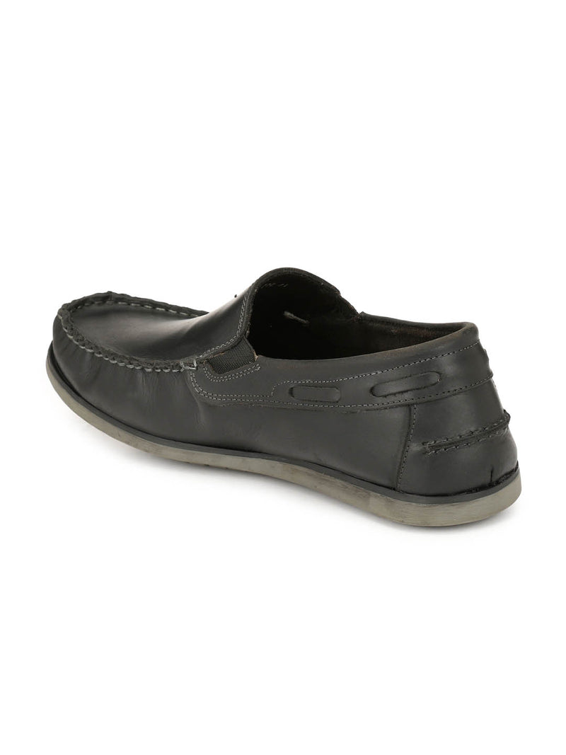 Casual Black Leather Boat Shoes