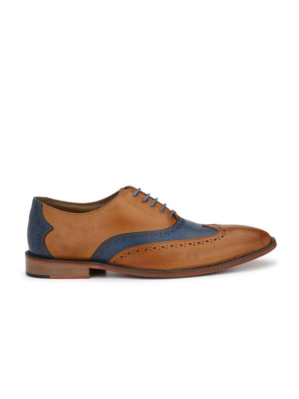 7101 Tan + Blue Leather Shoes