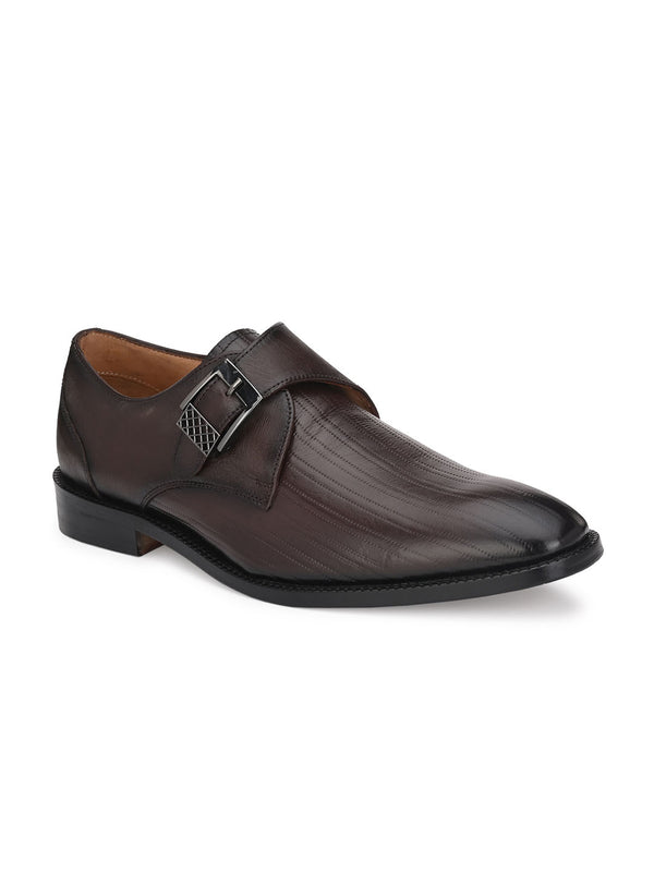 Hitz Deorano Brown Monk Shoes For Men