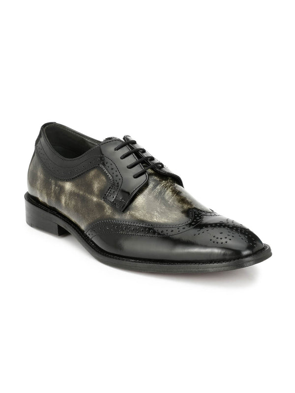 7111 Black + Grey Party Wear Leather Shoes