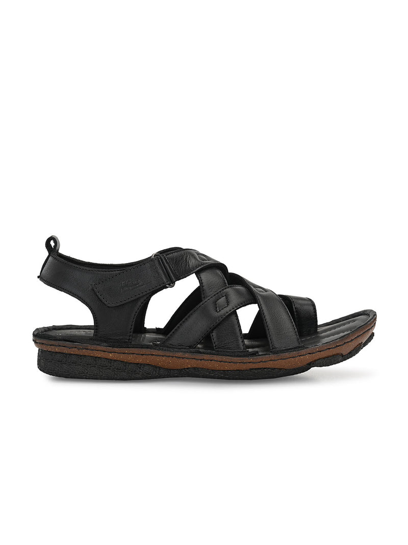 Hitz Smart casual Black Sandals For Men