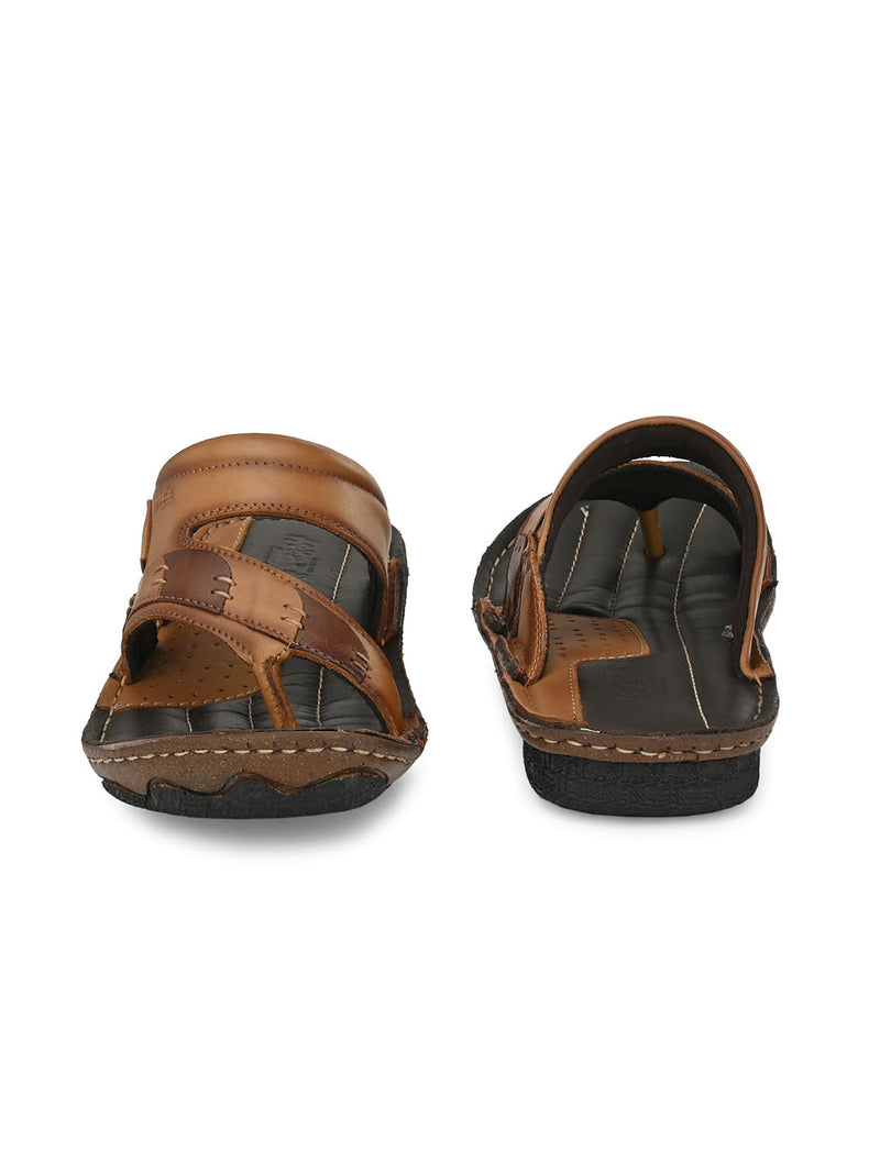HITZ Fyodor Tan+Brown Sandals For Men
