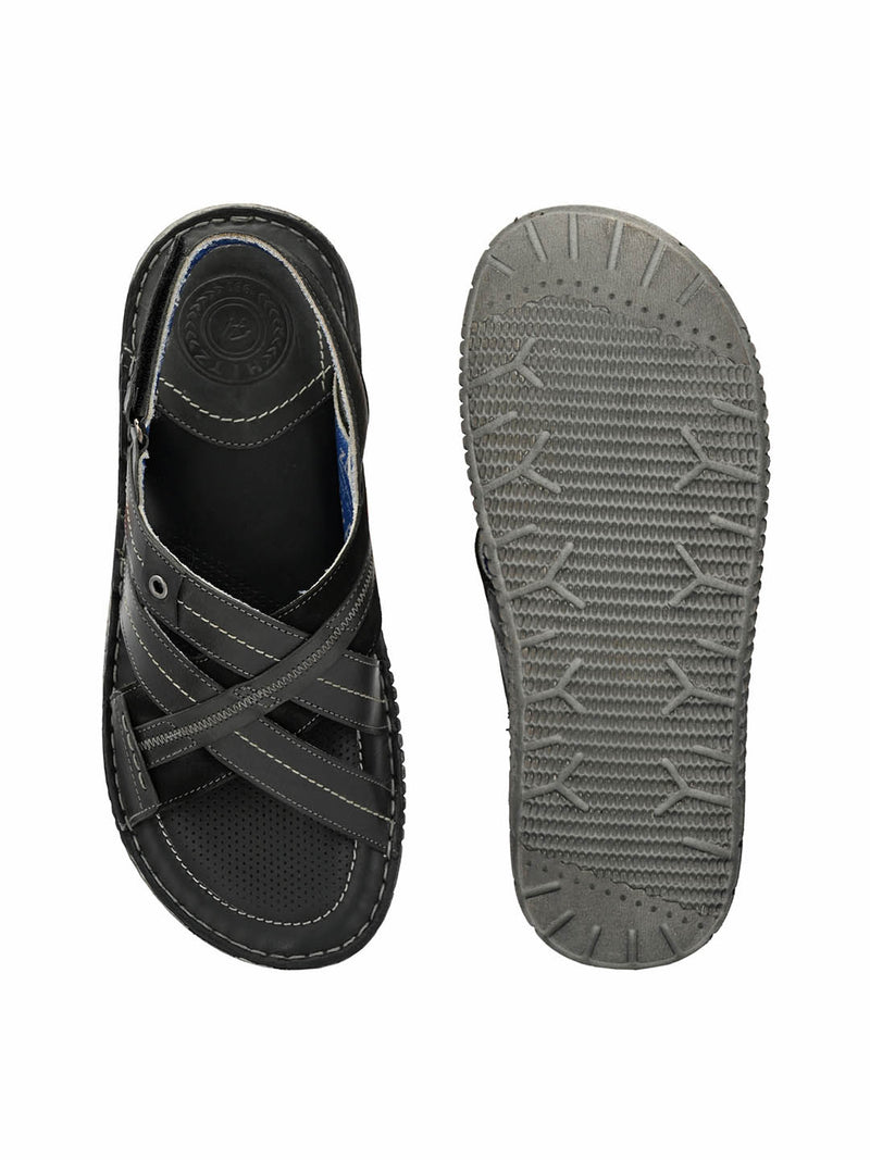 7401 Grey Leather Sandals