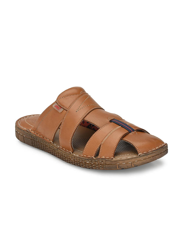 Men Tan Leather Comfort Slippers