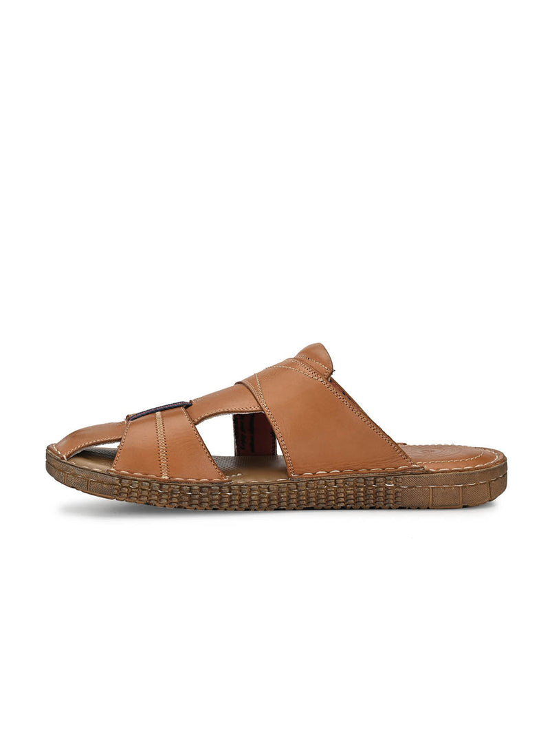 7403 Tan Leather Slippers