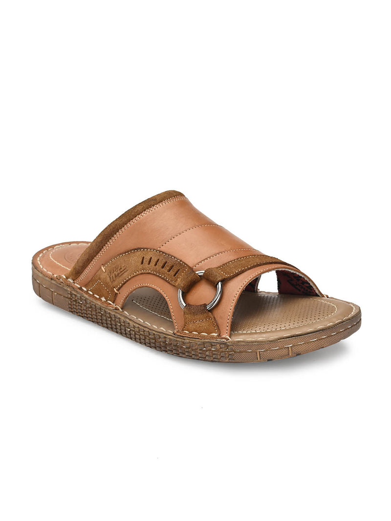 7404 Tan Leather Slippers