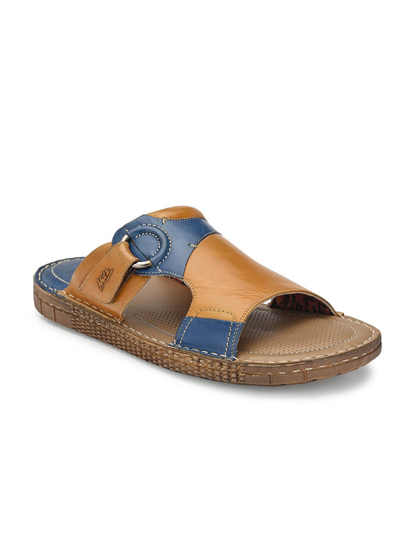 Men Tan Cushioned Leather Slippers