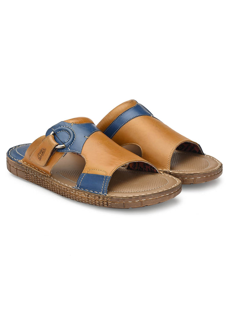 7406 Tan + Blue Leather Slippers