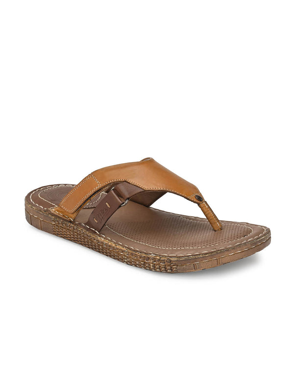 Men Tan Leather Light Weight Slippers
