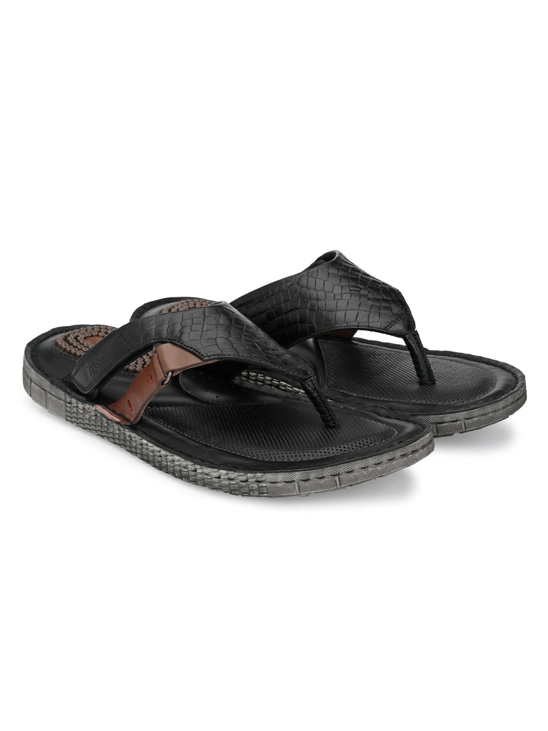 Hitz Men Black Leather Daily Wear Slippers