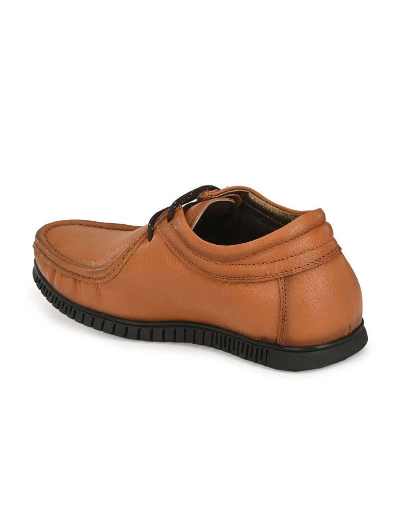 Men Casual Tan Leather Slip-on Shoes