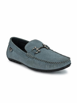 Men Grey Leather Loafers with Buckle