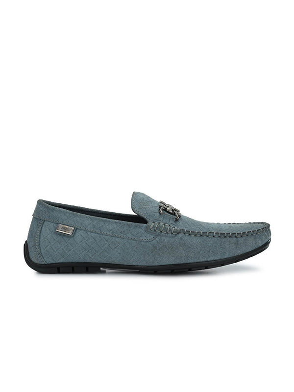 7601 Grey Leather Loafers