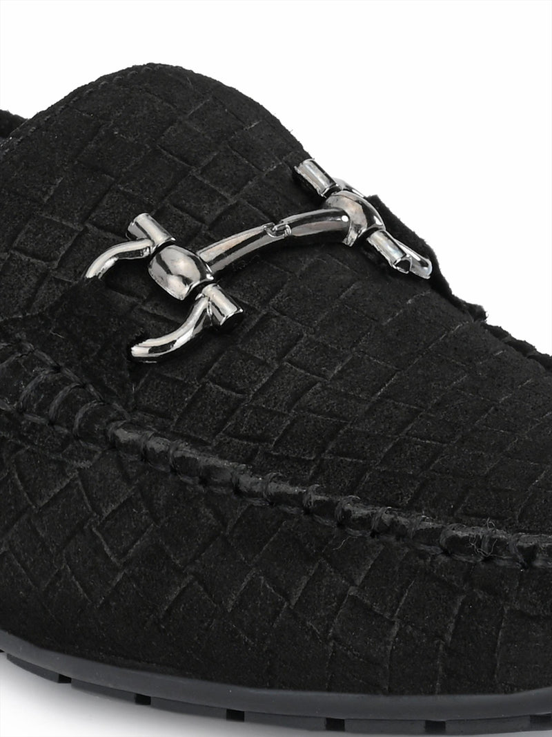 MEN BLACK LEATHER LOAFERS WITH BUCKLE