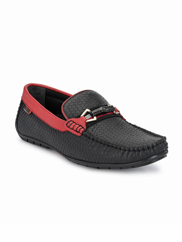 7602 Black + Red Leather Loafers