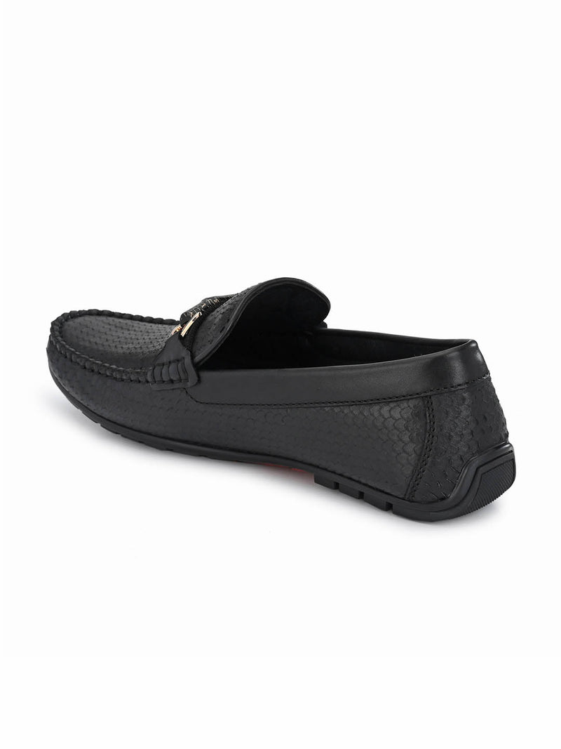 7602 Black Leather Loafers