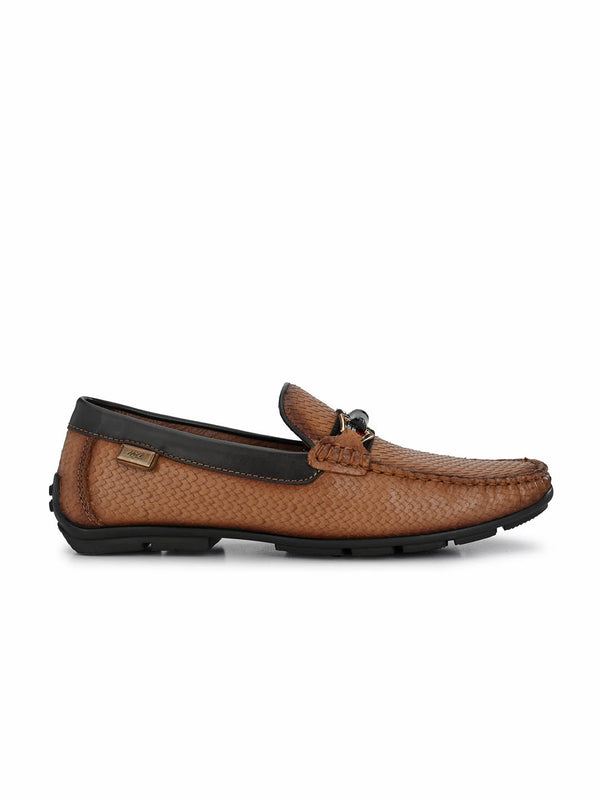 Men Tan Leather Slip-on Loafer Shoes