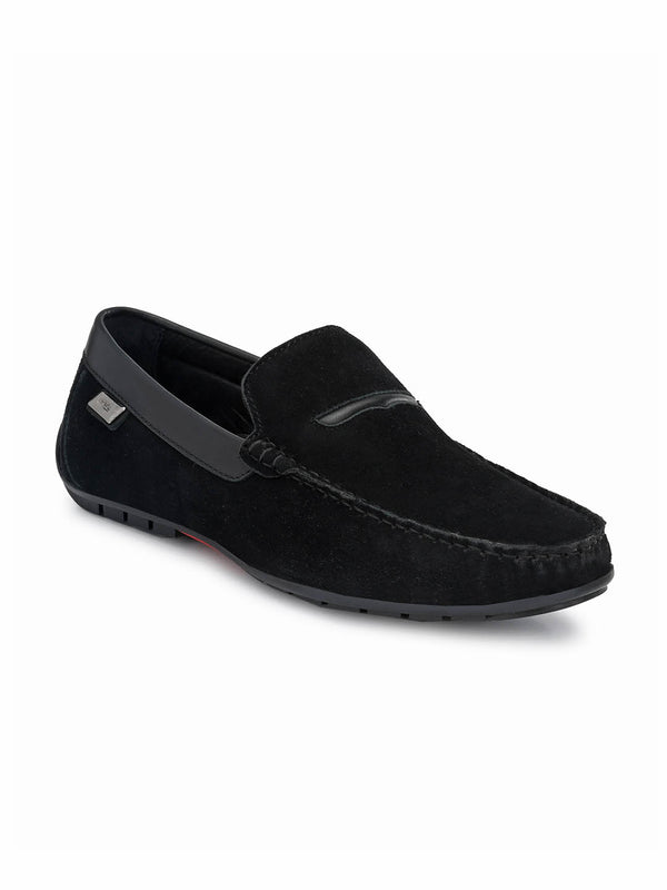 7603 Black Leather Loafers