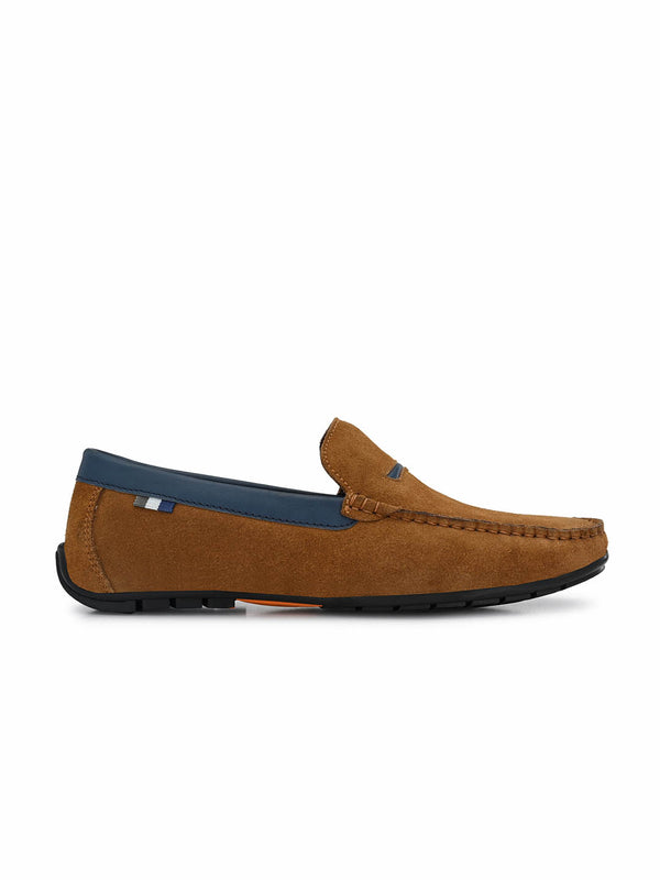 7603 Tan + Blue Leather Loafers