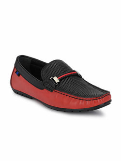 7604 Red + Black Leather Loafers
