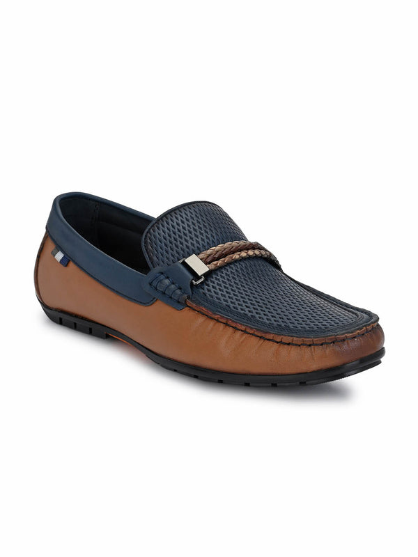 7604 Tan + Blue Leather Loafers