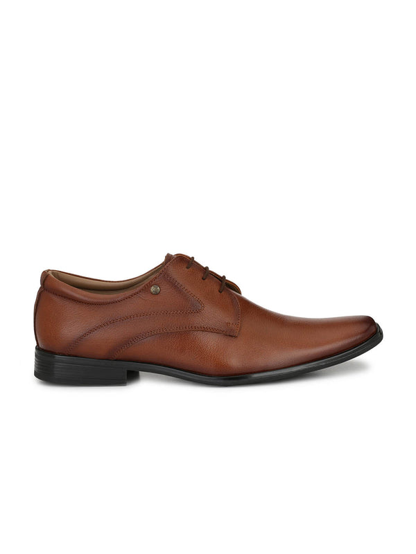 Men Tan Leather Formal Office Wear