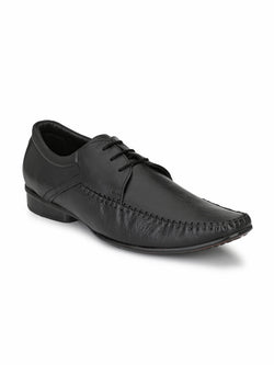 Men Black Leather Formal Derby Office Shoes