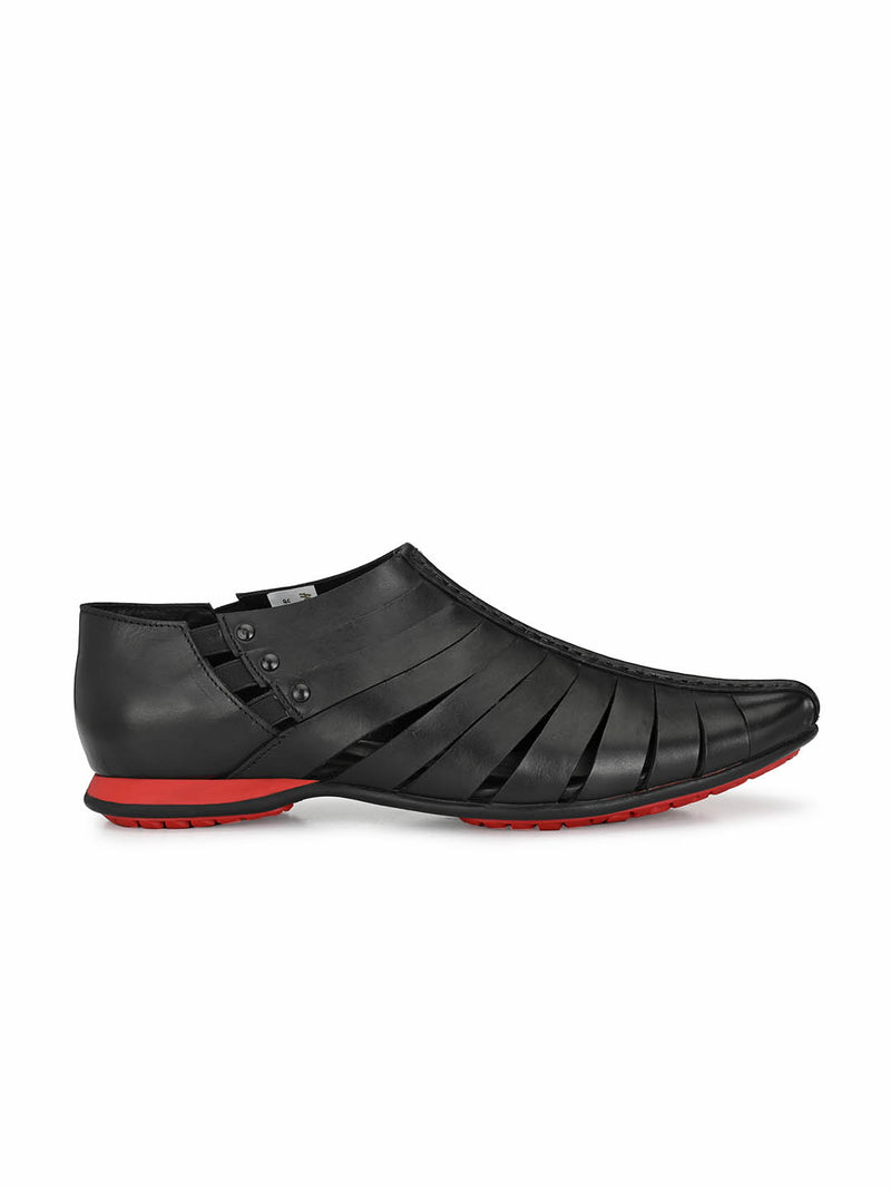 Pavers - 7810 Black Leather Sandals