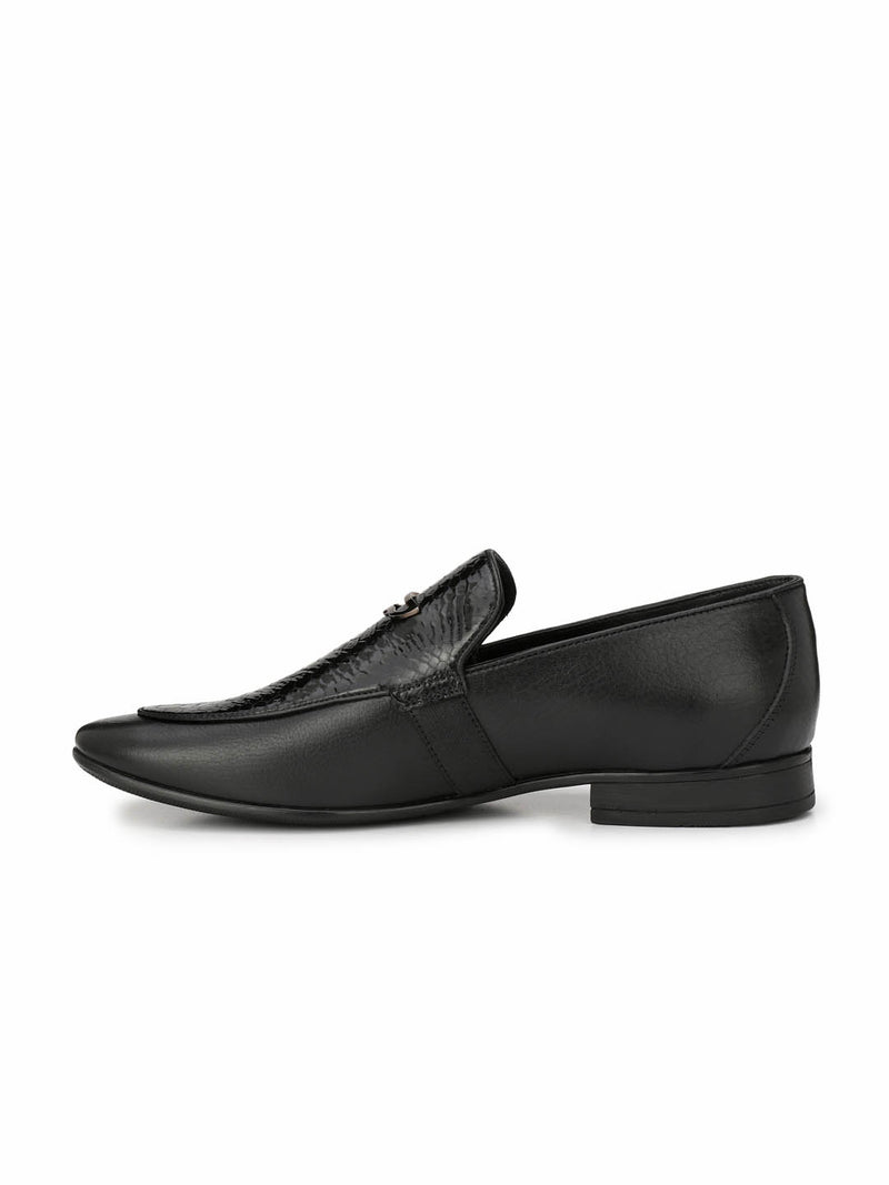 Men Black Leather Semi Formal Shoes