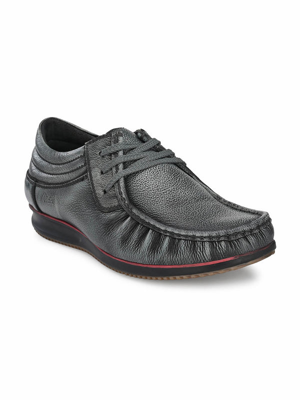 Men Grey Casual Leather Shoes